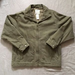 Old navy boys army green zip up jacket size L